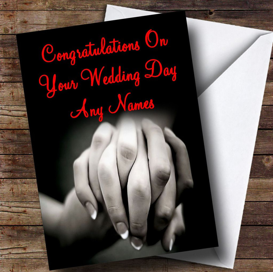 Holding Hands Romantic Customised Wedding Day Card