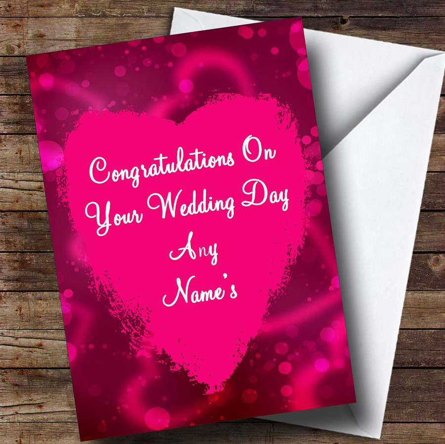 Pink Heart Customised Wedding Day Card