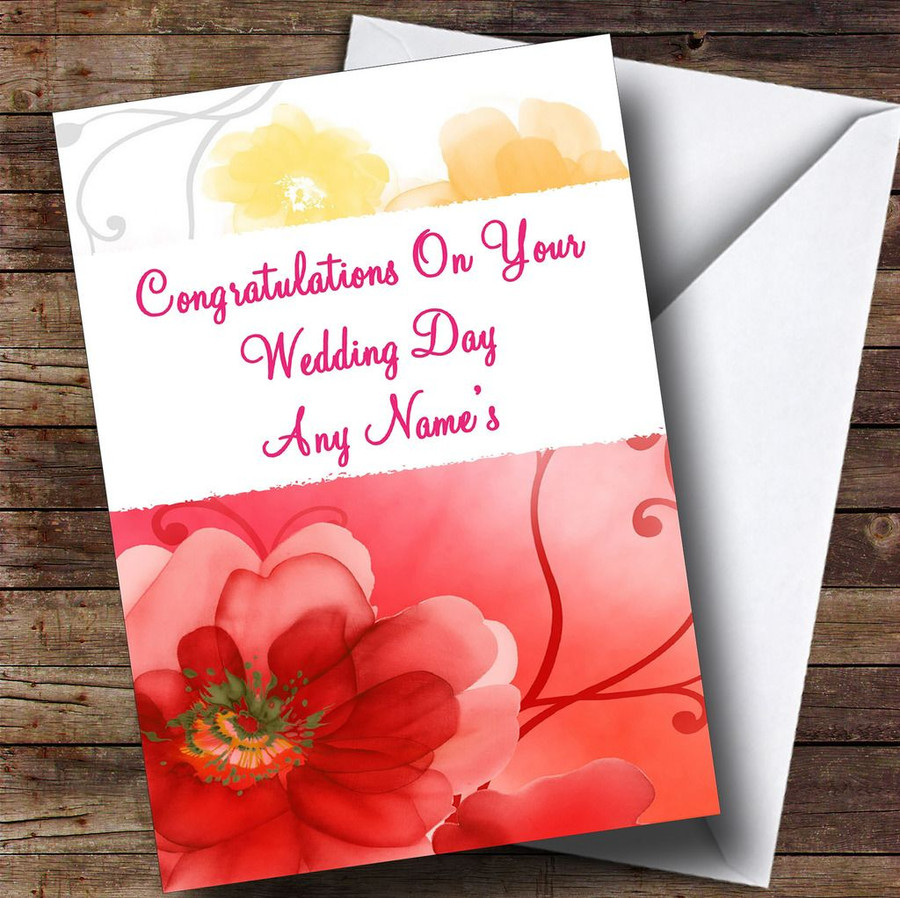 Lovely Flowers Customised Wedding Day Card