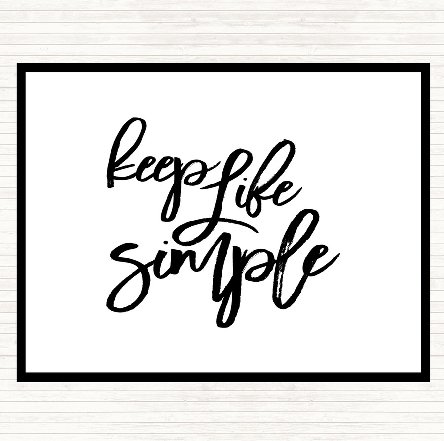 White Black Life Simple Quote Mouse Mat