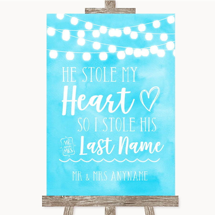 Aqua Sky Blue Watercolour Lights Stole Last Name Customised Wedding Sign
