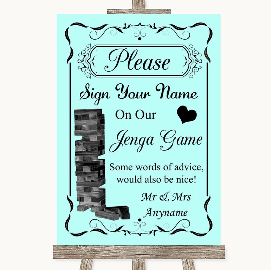 Aqua Jenga Guest Book Customised Wedding Sign