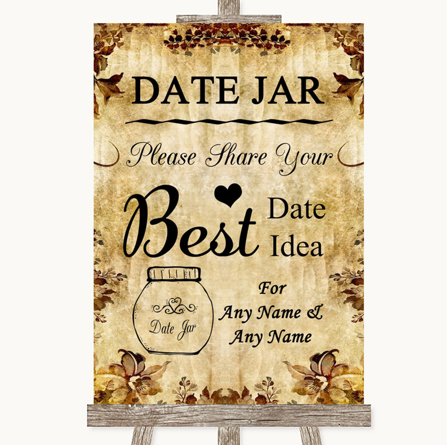 Autumn Vintage Date Jar Guestbook Customised Wedding Sign