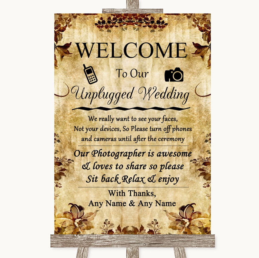 Autumn Vintage No Phone Camera Unplugged Customised Wedding Sign