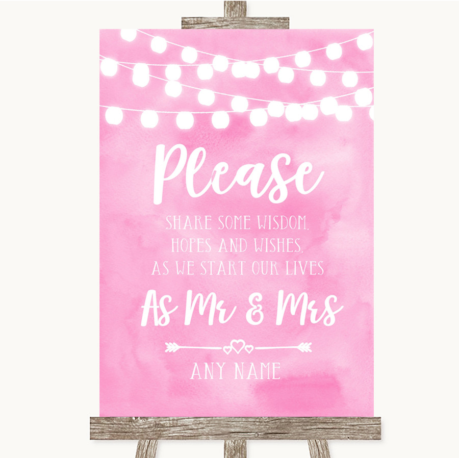Baby Pink Watercolour Lights Share Your Wishes Customised Wedding Sign