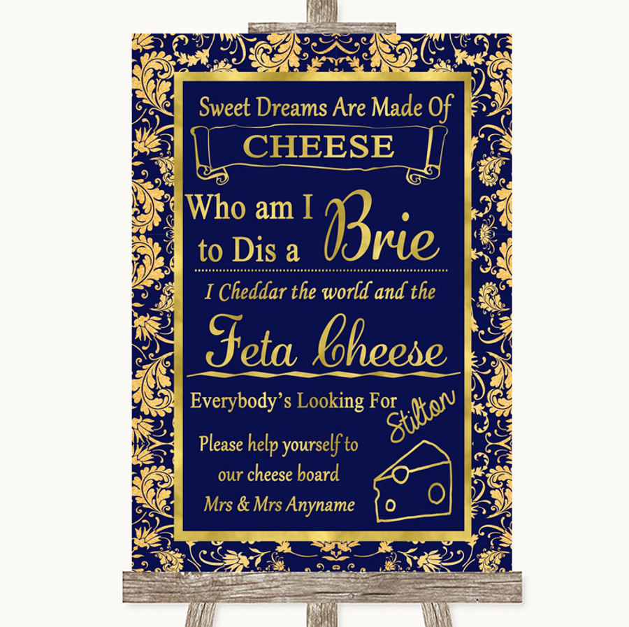 Blue & Gold Cheese Board Song Customised Wedding Sign