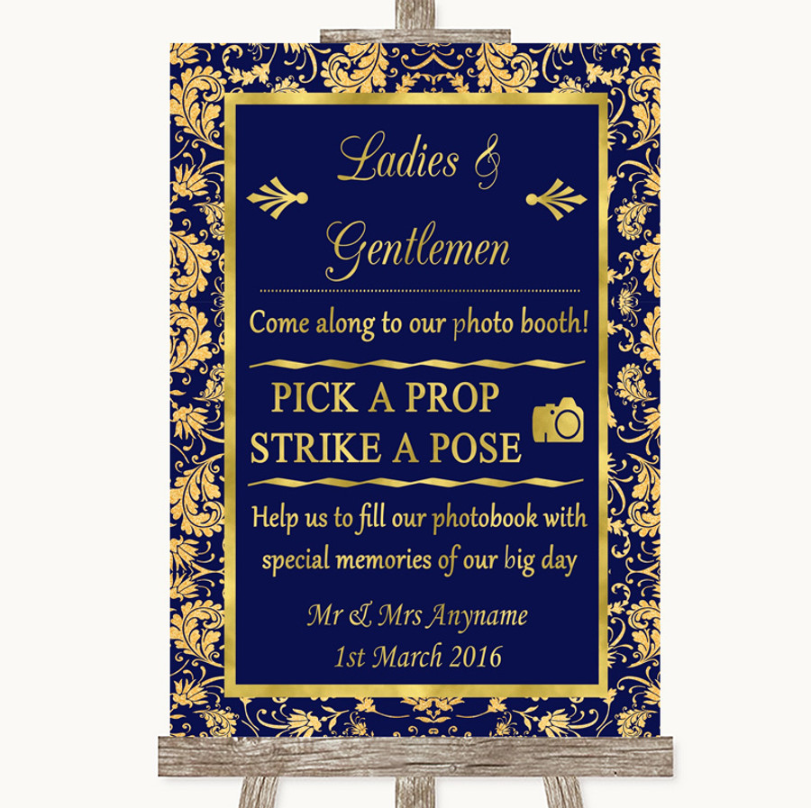 Blue & Gold Pick A Prop Photobooth Customised Wedding Sign