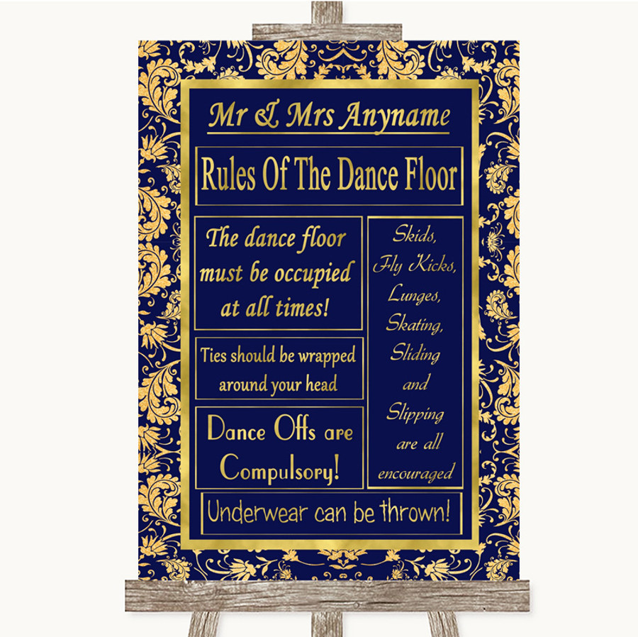 Blue & Gold Rules Of The Dance Floor Customised Wedding Sign