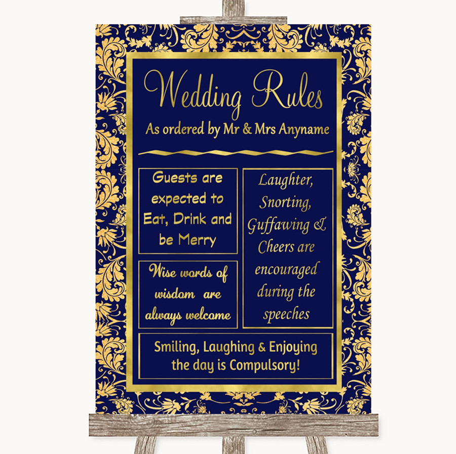 Blue & Gold Rules Of The Wedding Customised Wedding Sign