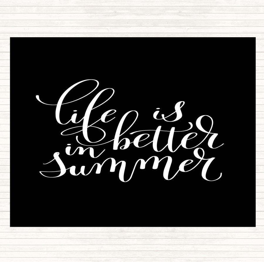 Black White Life Is Better In Summer Quote Mouse Mat