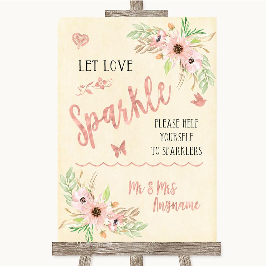 Blush Peach Floral Let Love Sparkle Sparkler Send Off Customised Wedding Sign