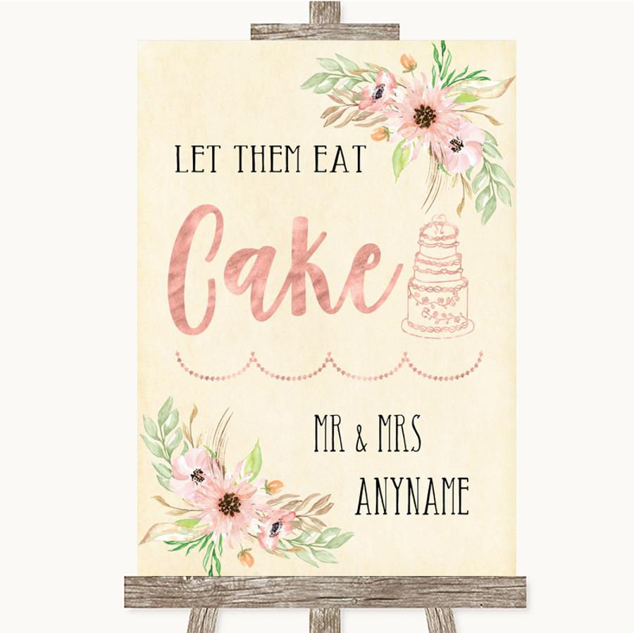 Blush Peach Floral Let Them Eat Cake Customised Wedding Sign