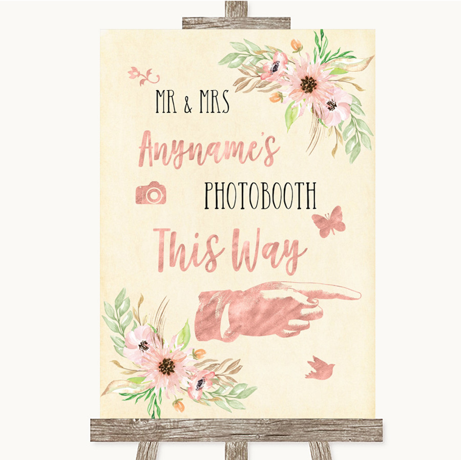 Blush Peach Floral Photobooth This Way Right Customised Wedding Sign