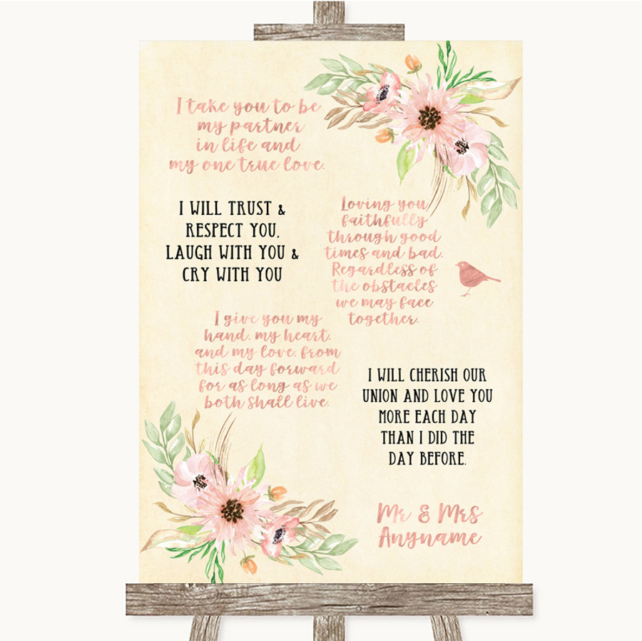Blush Peach Floral Romantic Vows Customised Wedding Sign