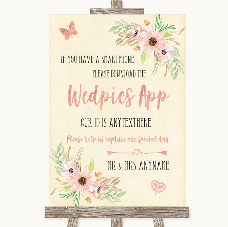 Blush Peach Floral Wedpics App Photos Customised Wedding Sign