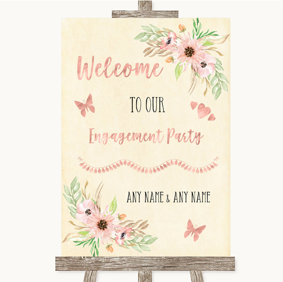 Blush Peach Floral Welcome To Our Engagement Party Customised Wedding Sign