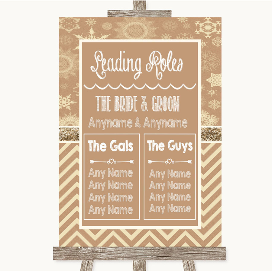 Brown Winter Who's Who Leading Roles Customised Wedding Sign