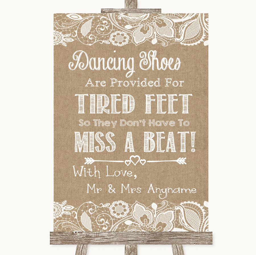 Burlap & Lace Dancing Shoes Flip-Flop Tired Feet Customised Wedding Sign
