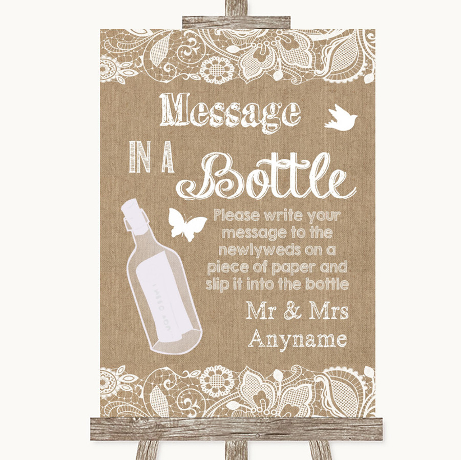Burlap & Lace Message In A Bottle Customised Wedding Sign