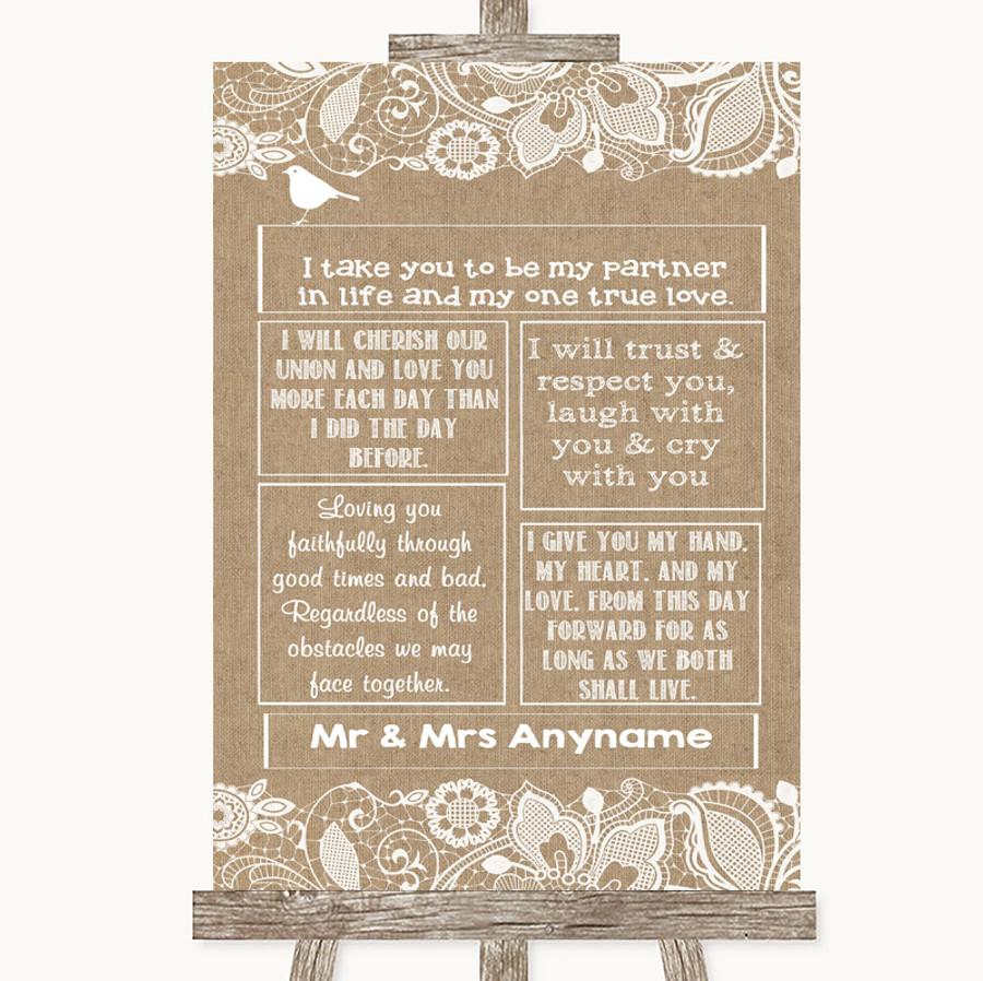 Burlap & Lace Romantic Vows Customised Wedding Sign