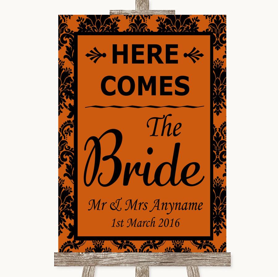 Burnt Orange Damask Here Comes Bride Aisle Sign Customised Wedding Sign