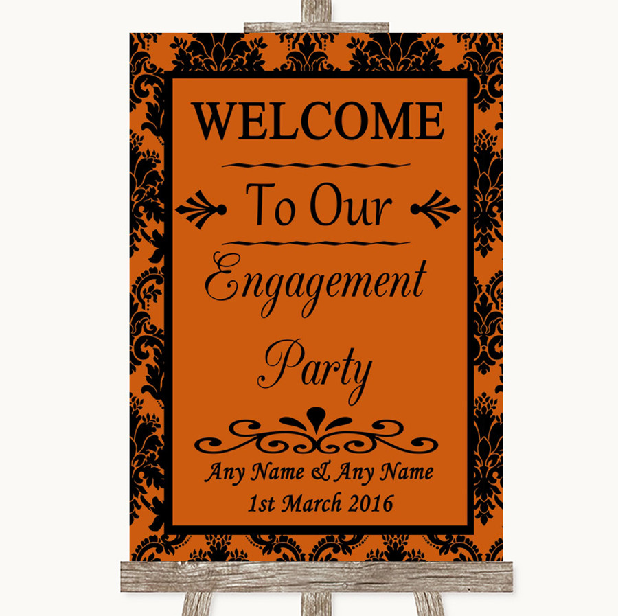 Burnt Orange Damask Welcome To Our Engagement Party Customised Wedding Sign