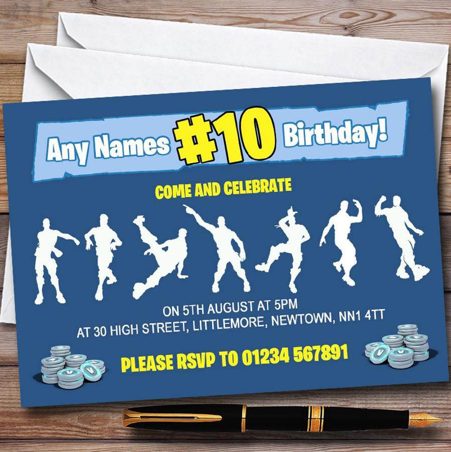 Blue Boys Fortnite Dances Customised Children's Birthday Party Invitations