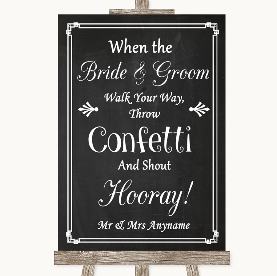 Chalk Style Confetti Customised Wedding Sign