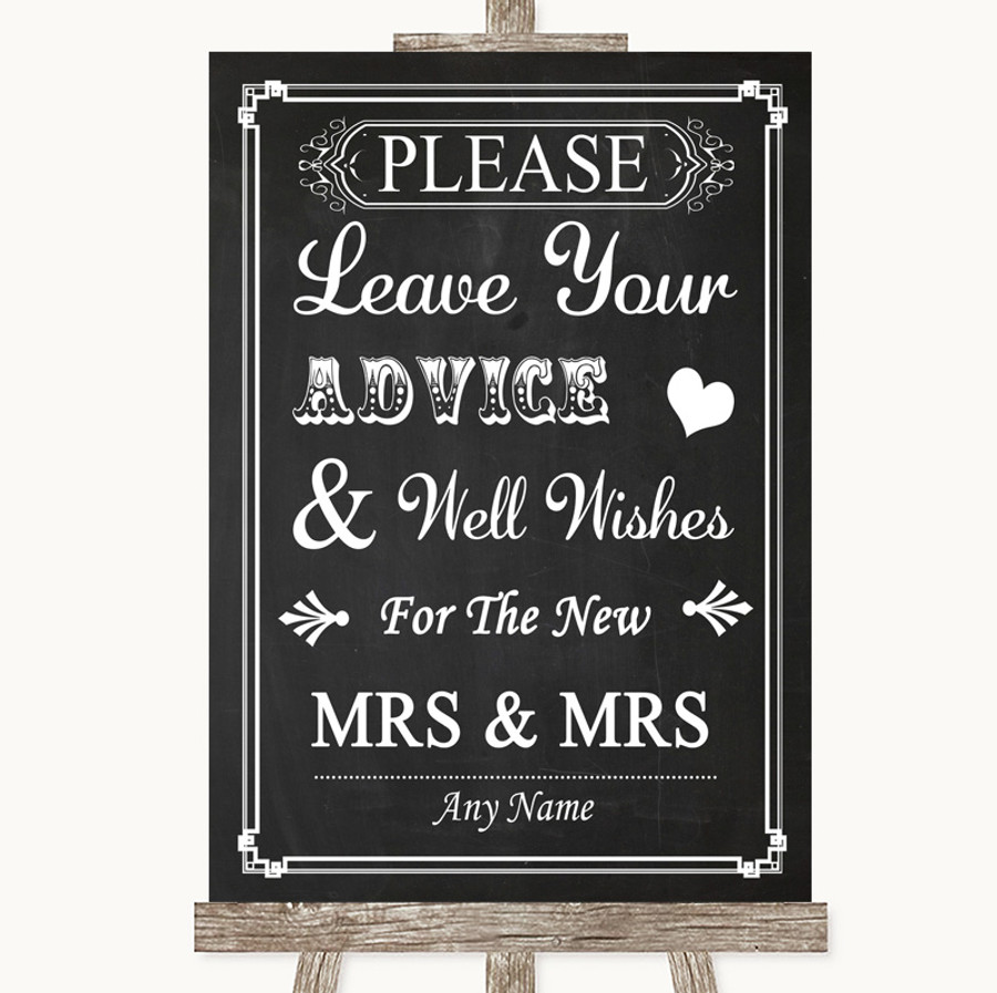 Chalk Style Guestbook Advice & Wishes Lesbian Customised Wedding Sign