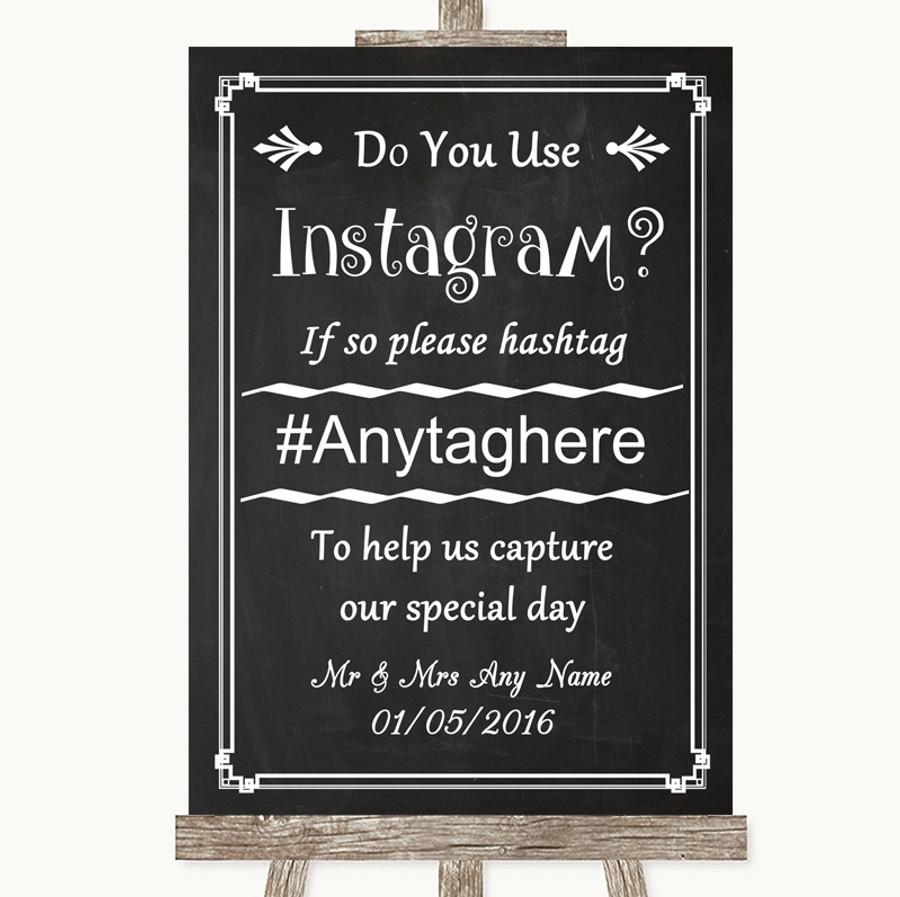 Chalk Style Instagram Photo Sharing Customised Wedding Sign