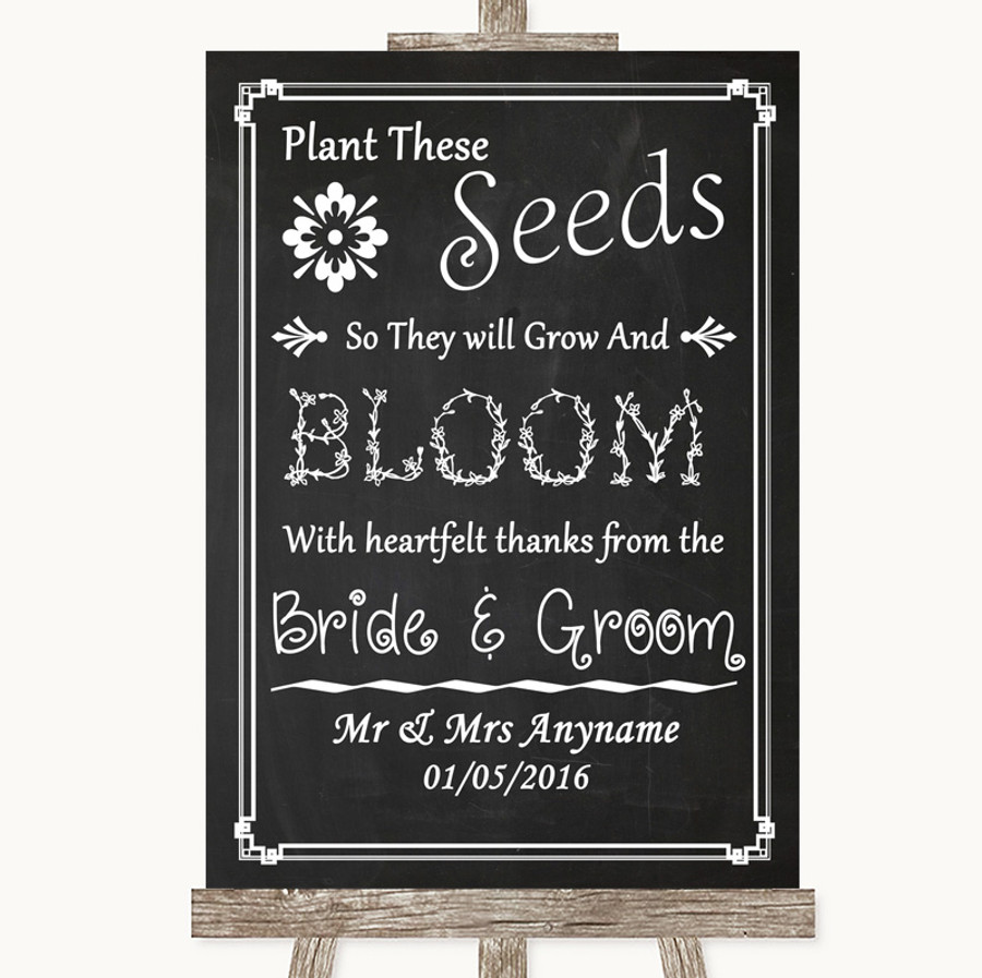 Chalk Style Plant Seeds Favours Customised Wedding Sign
