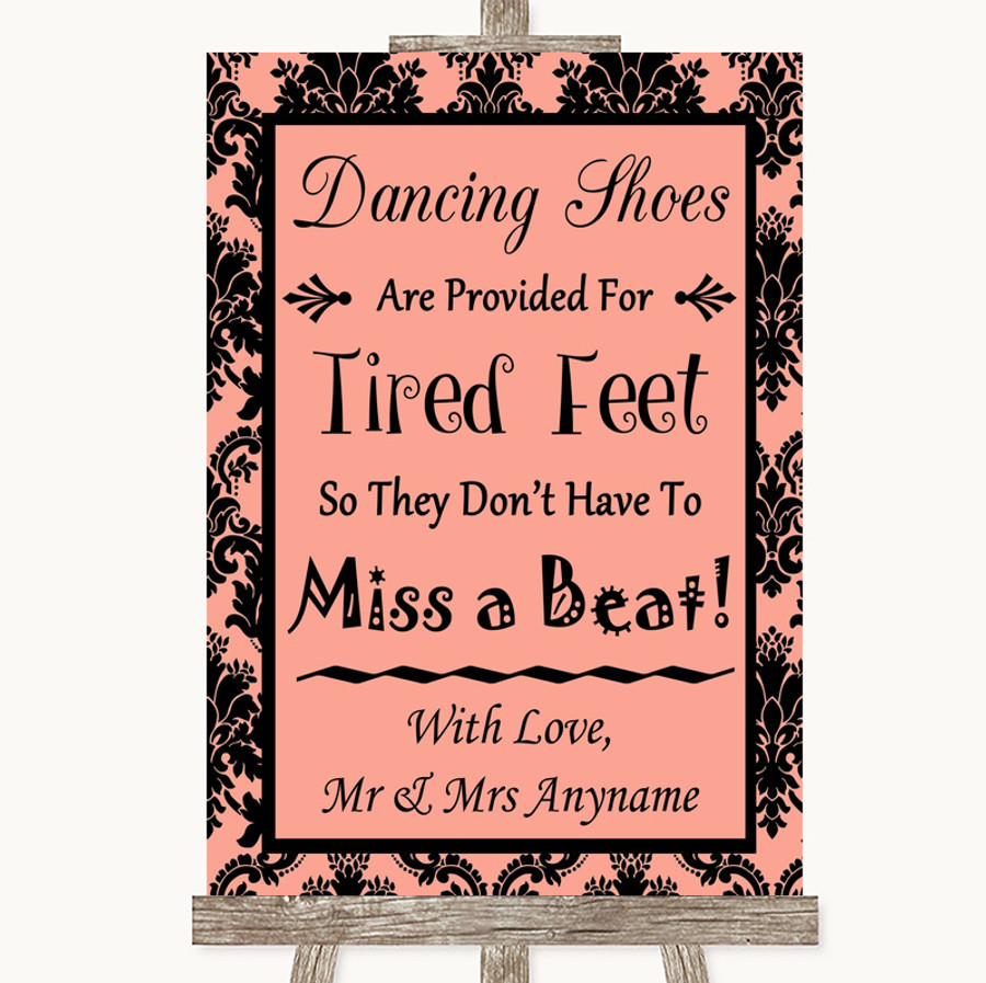 Coral Damask Dancing Shoes Flip-Flop Tired Feet Customised Wedding Sign