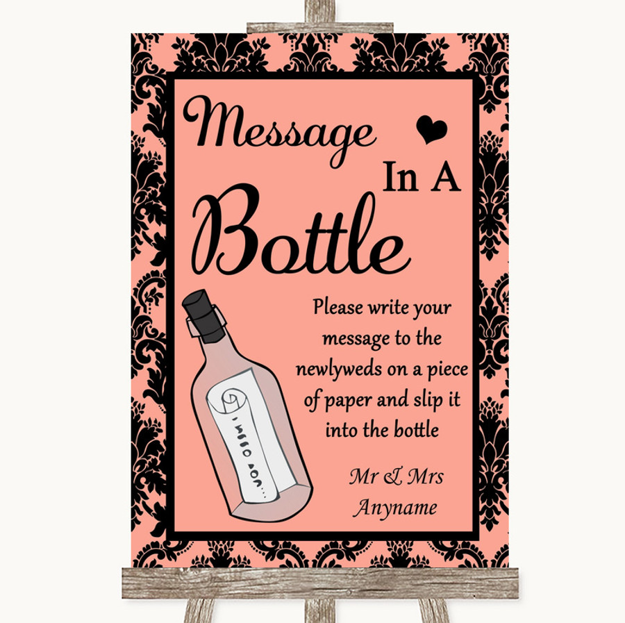 Coral Damask Message In A Bottle Customised Wedding Sign
