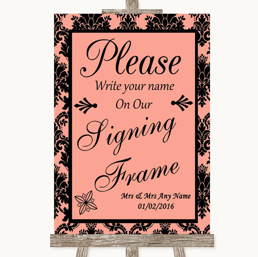 Coral Damask Signing Frame Guestbook Customised Wedding Sign