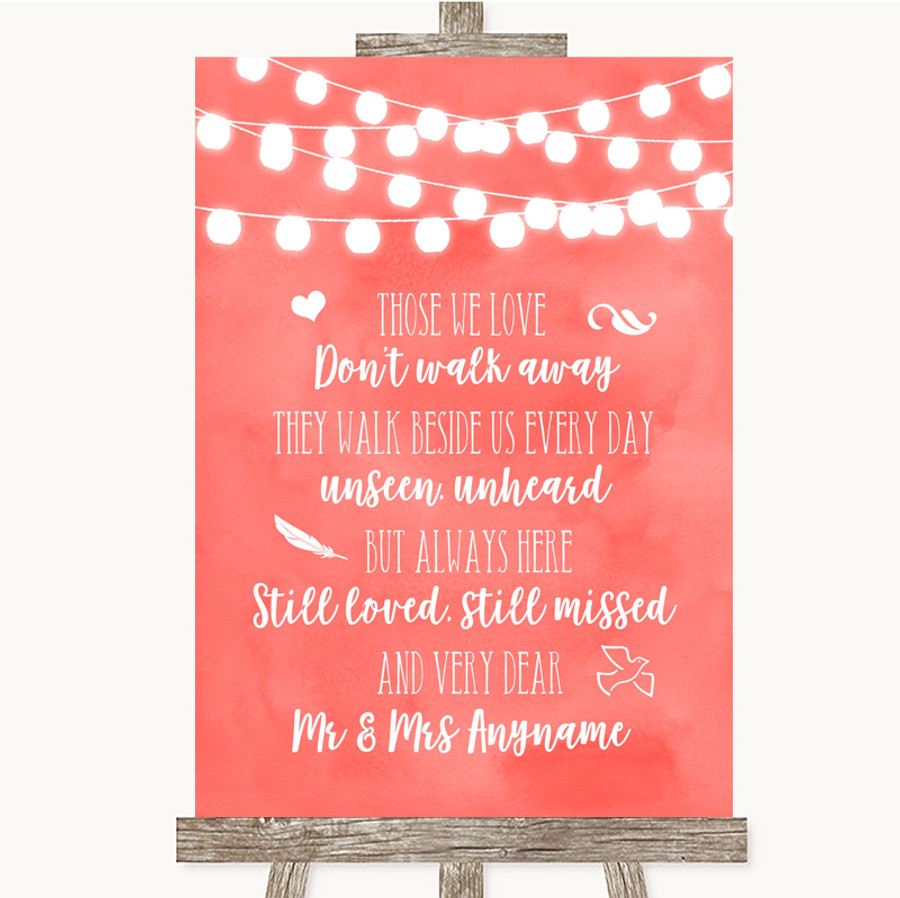 Coral Watercolour Lights In Loving Memory Customised Wedding Sign