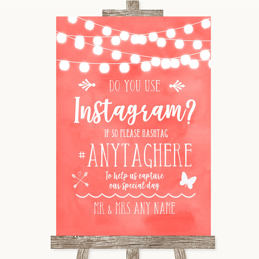 Coral Watercolour Lights Instagram Photo Sharing Customised Wedding Sign