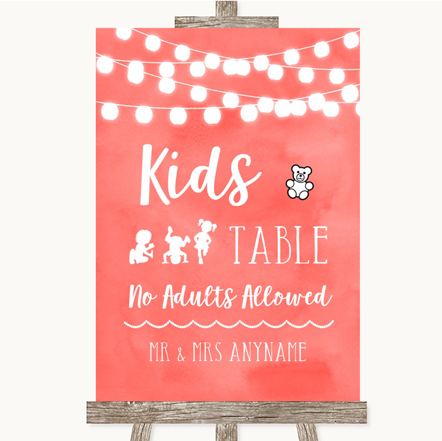 Coral Watercolour Lights Kids Table Customised Wedding Sign