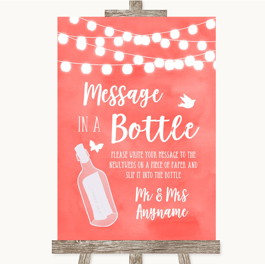 Coral Watercolour Lights Message In A Bottle Customised Wedding Sign