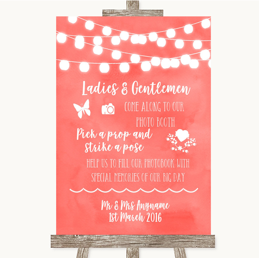 Coral Watercolour Lights Pick A Prop Photobooth Customised Wedding Sign