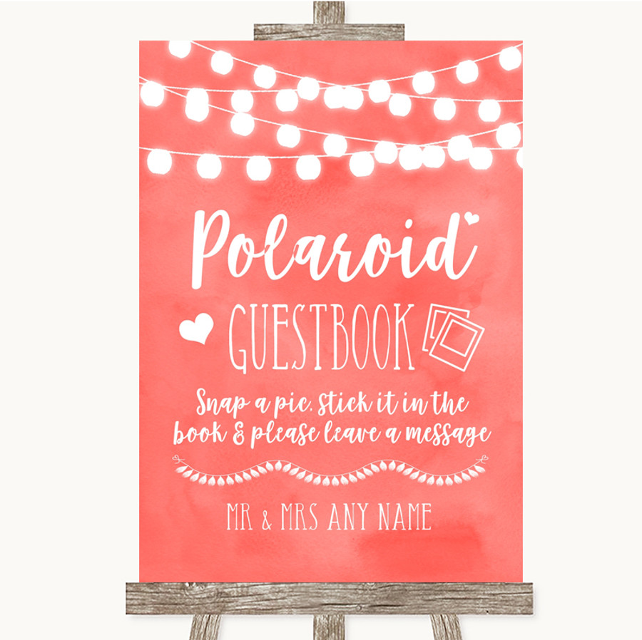 Coral Watercolour Lights Polaroid Guestbook Customised Wedding Sign