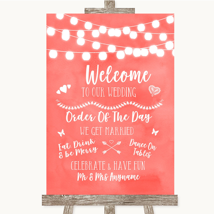 Coral Watercolour Lights Welcome Order Of The Day Customised Wedding Sign