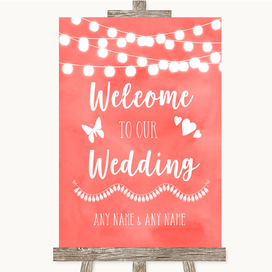 Coral Watercolour Lights Welcome To Our Wedding Customised Wedding Sign