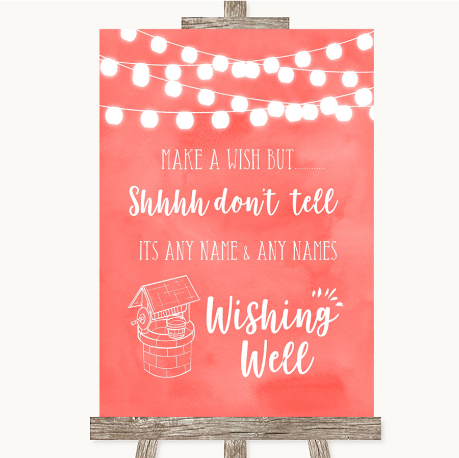 Coral Watercolour Lights Wishing Well Message Customised Wedding Sign