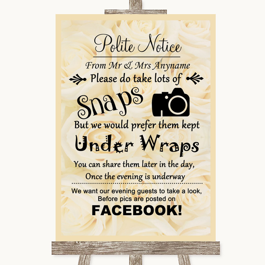 Cream Roses Don't Post Photos Facebook Customised Wedding Sign
