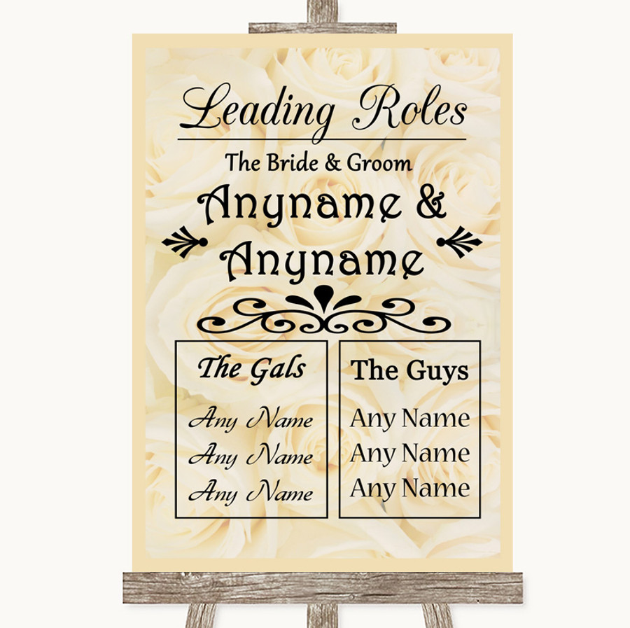 Cream Roses Who's Who Leading Roles Customised Wedding Sign