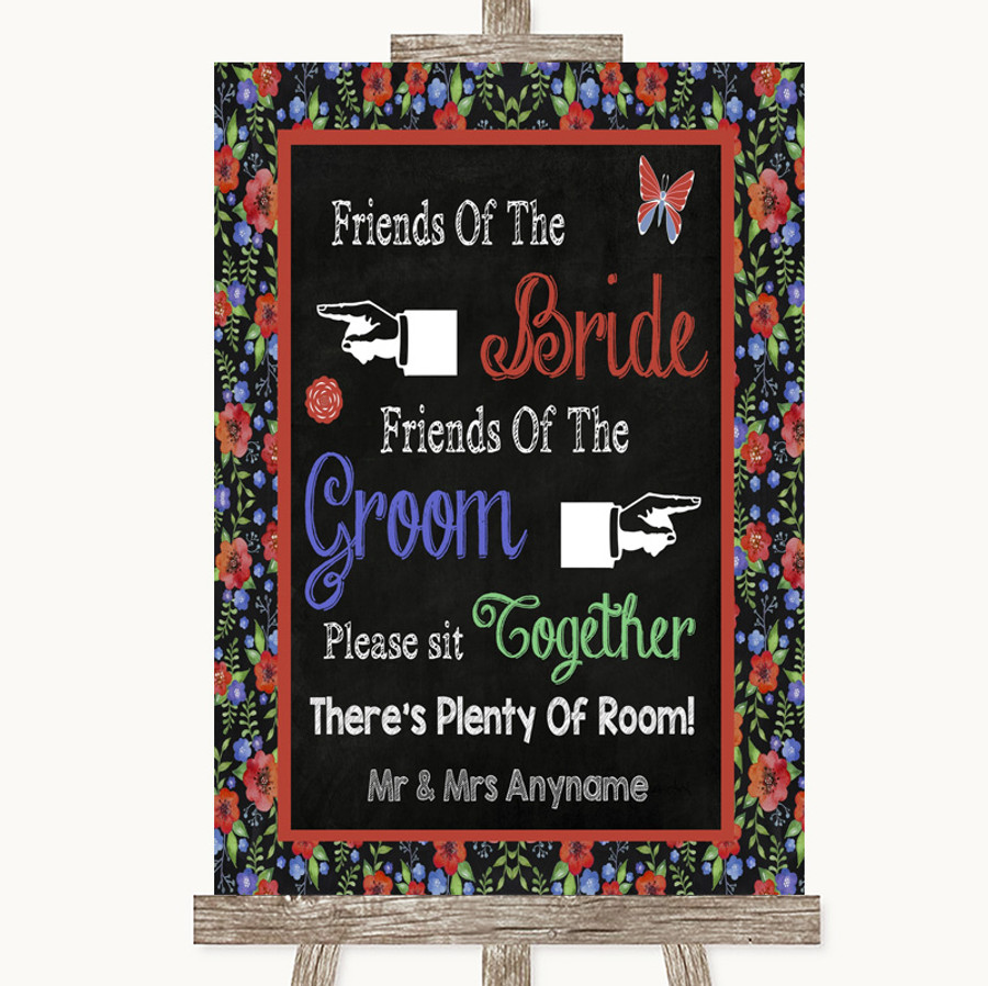 Floral Chalk Friends Of The Bride Groom Seating Customised Wedding Sign