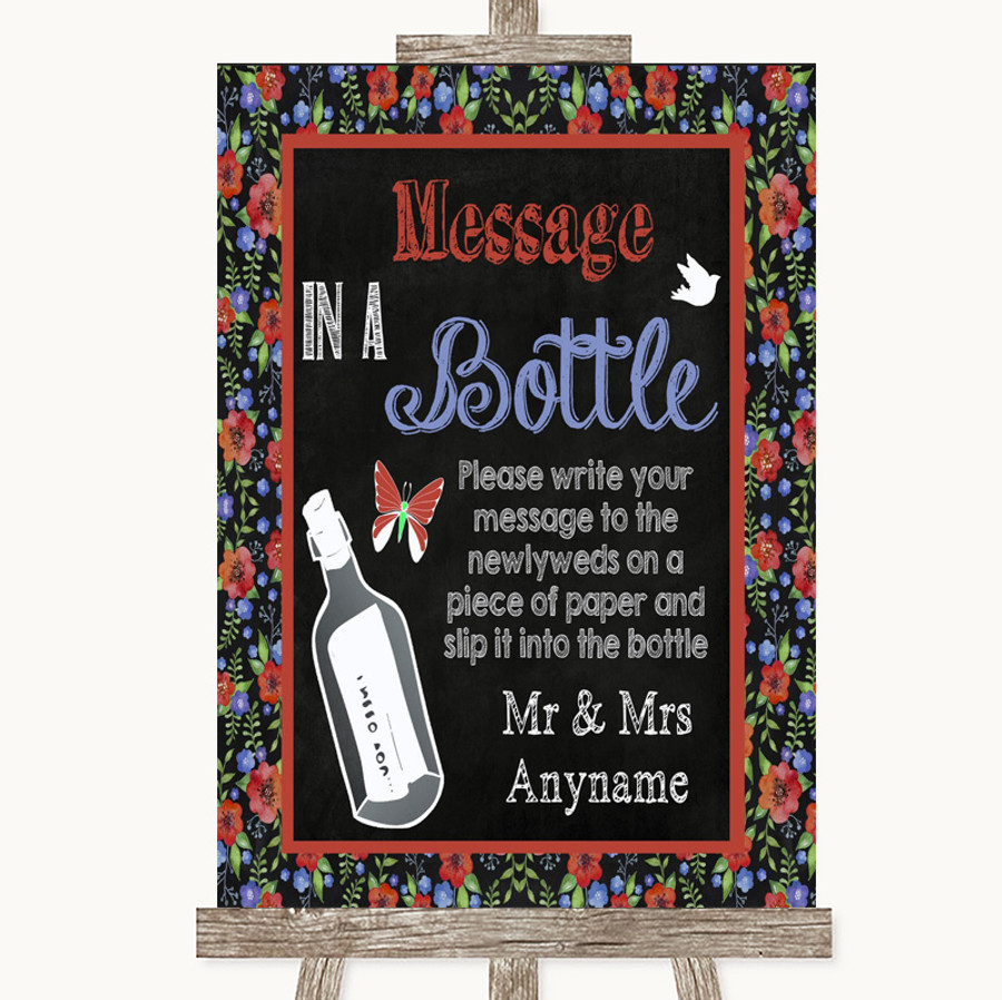 Floral Chalk Message In A Bottle Customised Wedding Sign