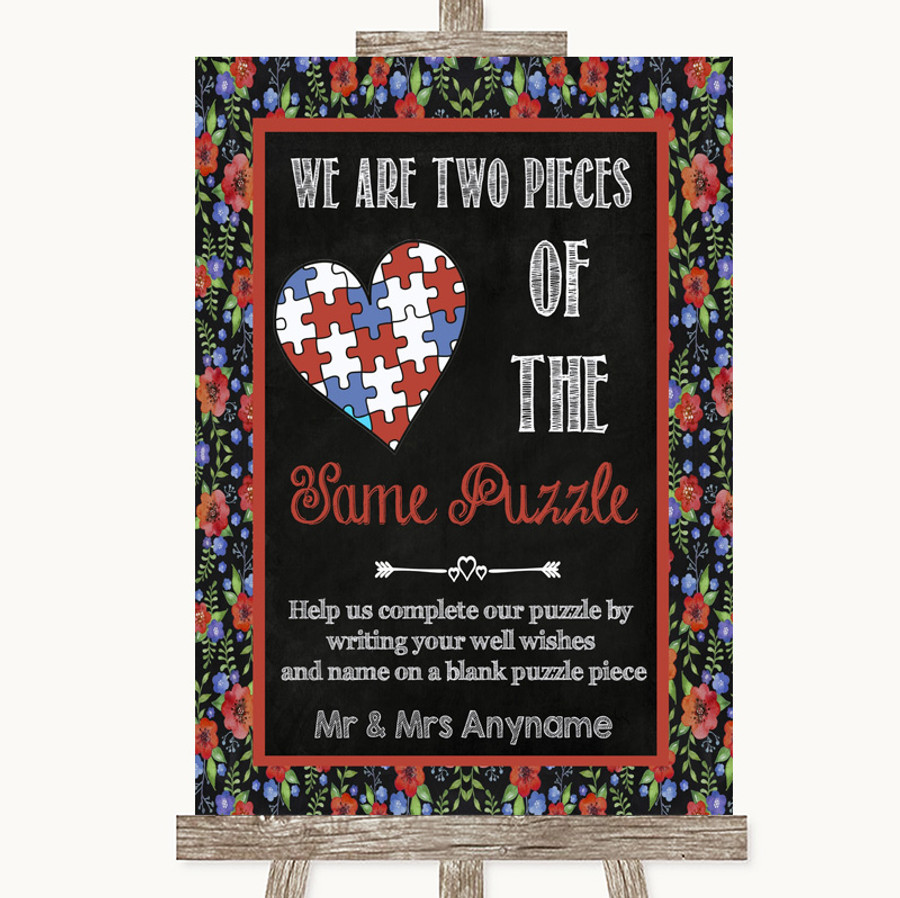 Floral Chalk Puzzle Piece Guest Book Customised Wedding Sign