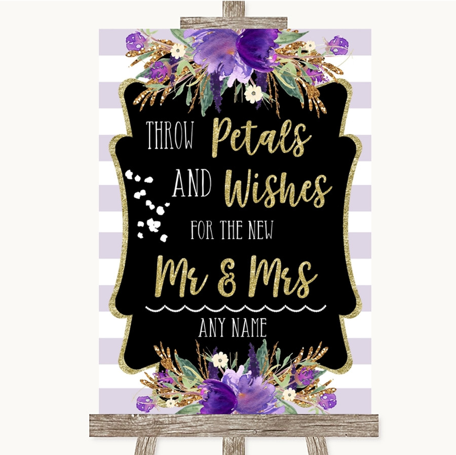 Gold & Purple Stripes Petals Wishes Confetti Customised Wedding Sign