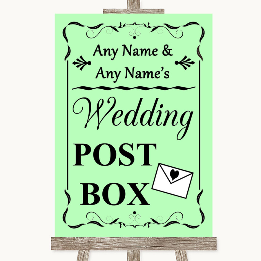 Green Card Post Box Customised Wedding Sign